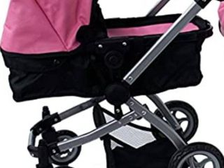 mommy and me doll pink leather stroller