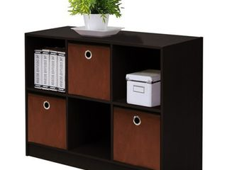 FURINNO 99940 EX BR 3x2 Bookcase Storage with Bins  Espresso Brown