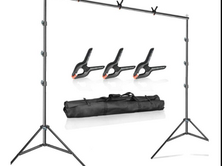 Julius Studio 10 ft  Wide Adjustable Background Muslin Support Structure System Stand and Cross Bar for Screen Backdrop with 3 Pack of Support Clamp  Stable Thick Pole  Photography Studio