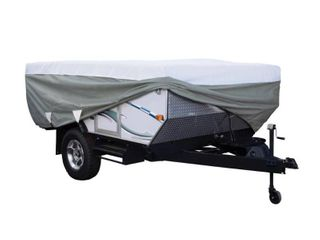 Classic Accessories OverDrive PolyPRO 3 Deluxe Pop Up Camper Trailer Cover  Fits up to 8  6  Trailers   Max Weather Protection with 3 Ply Poly Fabric Roof RV Cover
