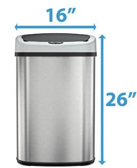13 Gallon Stainless Steel Oval Sensor Trash Can w  AC Adapter