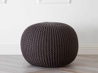 Urban Shop Round Knit Pouf  Brown
