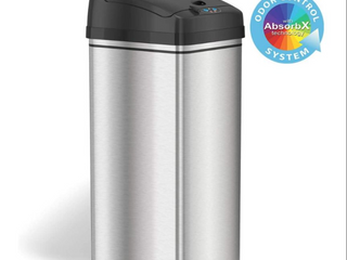iTouchless 13 Gallon Stainless Steel Automatic Trash Can with Odor Absorbing Filter and lid lock  Sensor Kitchen Garbage Bin  Power by Batteries  not included  or Optional AC Adapter