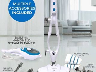 Steam Mop Cleaner 10 in 1 with Convenient Detachable Handheld Unit  laminate Hardwood Tiles Carpet Kitchen   Garment   Clothes   Pet Friendly Steamer Whole House Multipurpose Use by PurSteam