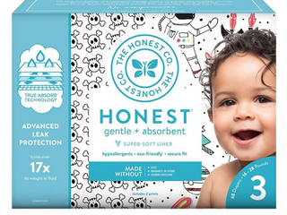 Honest Co Baby Diapers Size3 Count136 Trueabsorb Rose   Feather Value Pack Baby NOT Included