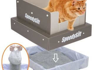 SpeedySift Cat litter Box with 56ct Improved Sifting liners  Cats  Favorite Box like  100  Plastic  High Sides  large