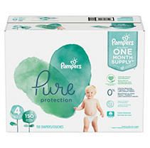 Pampers Pure Disposable Diapers One Month Supply   Size 4  150ct