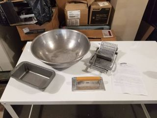 lOT WITH MIXING BOWl  BREAD PANS  CHEESE SlICER AND MORE