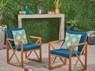 Andora Outdoor Acacia Wood Club ChairsSet of 2by Christopher Knight Home Retail   244 99