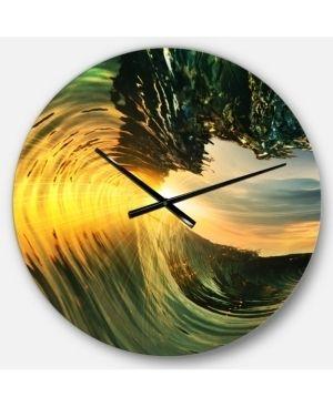 Designart  Colored Ocean Waves Falling Down VII  Modern Seashore Wall Clock Retail   133 49