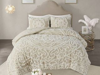King California King Cecily Cotton Chenille Medallion Comforter Set Taupe