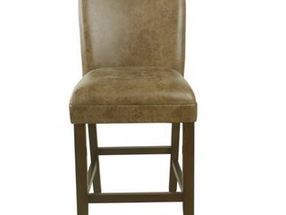 HomePop 24  luxury faux leather barstool   Distressed Brown Faux leather   24 inches Retail   129 99