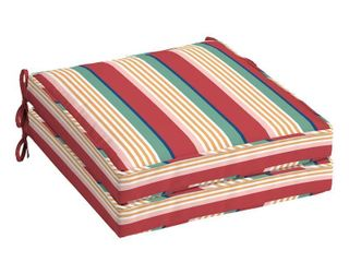 Pair of Arden Selections Keeley Stripe Outdoor Welted Dining Seat Cushion  21 in l x 21 in W x 5 in H