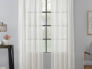 96 x52  Celeste Textured linen Blend Sheer Rod Pocket Curtain Panel Pearl   Scott living
