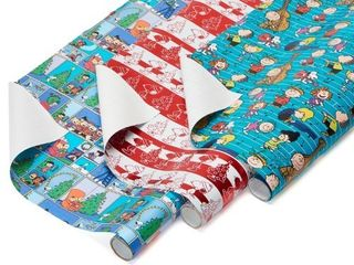 American Greetings Christmas Peanuts Wrapping Paper  3ct