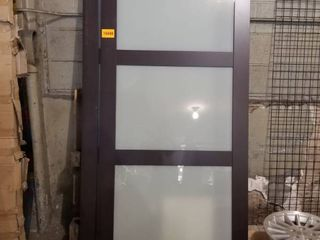PAIR OF 2290 SERIES ESPRESSO TEMPERED FROSTED GlASS DOORS