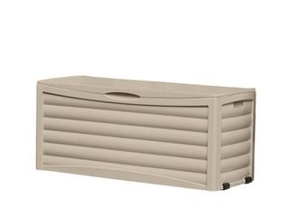 Suncast 103 Gallon Outdoor Resin Deck Storage Box for Patio  light Taupe
