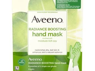 Aveeno Radiance Boosting Hand Mask with Soy  6 Pairs of Gloves