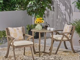 Set of 2 Coronado Outdoor Acacia Wood Bistro Chairs with Cushions by Christopher Knight Home