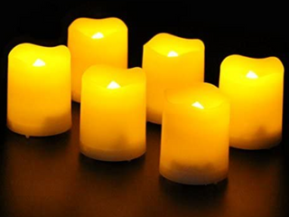Frostfire Mooncandles - 6 Indoor and Outdoor Votive Candles with Timer
