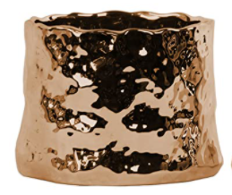 Urban Trends Ceramic Uneven Cylindrical Pot Polished Chrome Copper