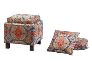 Madison Park Allison Red Square Storage Ottoman with 2 Pillows