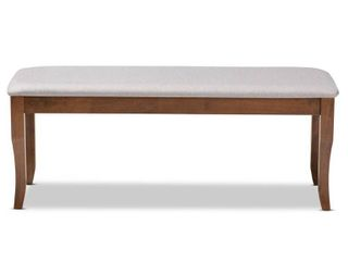 Cornelie Fabric Upholstered Wood Dining Bench Gray/Walnut - Baxton Studio