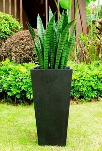 28 in H Black Lightweight Concrete Vase