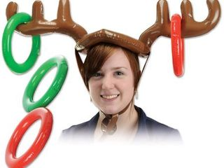 "4 Pack Beistle 20021 Inflatable Reindeer Ring Toss, 27"" and 7.25"", Brown/Red/Green"