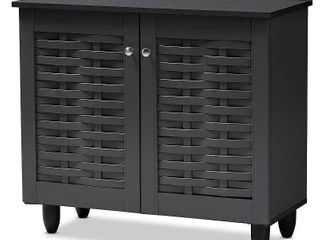 2 Door Winda Wooden Entryway Shoe Storage Cabinet Gray - Baxton Studio