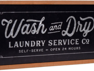 Wash And Dry laundry Metal and Wood Sign 24in x 10in 1 4