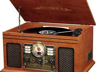 Victrola 6 in 1 Nostalgic Bluetooth Record Player with 3 speed Turntable with CD and Cassette   Mahogany