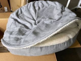 Grey White Pet Bed 35in Round Pet Bed