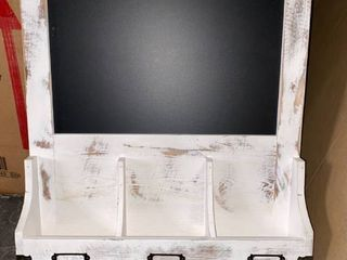 Destressed White Washed Wood Chalk Board With Key Hangers