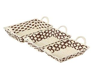 Vieworld Ivory and Brown Rattan Trays w Handles  Set of 3