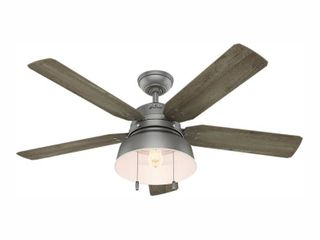 Hunter 52  Mill Valley Outdoor Ceiling Fan with lED light Kit and Pull Chain  Damp Rated  Retail 229 99