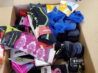Assorted size type and color socks Name brands