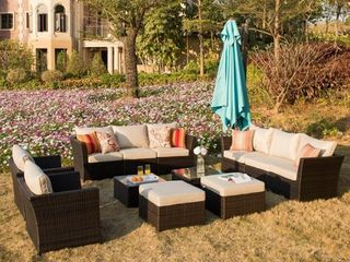 Incomplete  Ovios Patio Furniture 3 piece Rattan Wicker Outdoor Sectional Set