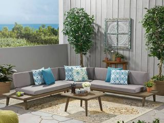 ONE PIECE Hillcrest Outdoor 4 piece V Shaped Wood Sectional Sofa Set with Cushion by Christopher Knight Home  Retail 1272 49