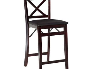 linon Triena X Back Folding Counter Stool  Espresso  24 inch Seat Height