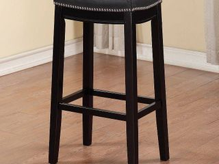 Padded Saddle Seat Bar Stool Hardwood Black   linon