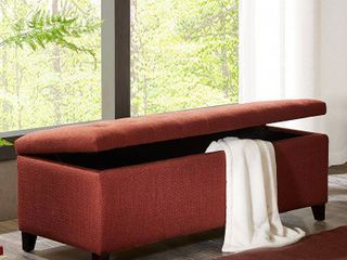 Madison Park Sasha Rust Red Tufted Top Storage Bench  Retail 182 08