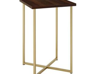 16 inch Square Side Table with Dark Walnut Top and Gold legs