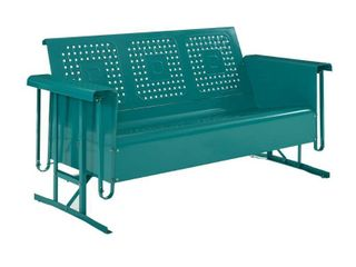 Bates Outdoor Metal Sofa Glider Turquoise   Crosley   Retail  388 99