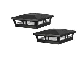 Classy Caps 6x6 Black Aluminum Cambridge Solar Post Cap  Set of 2