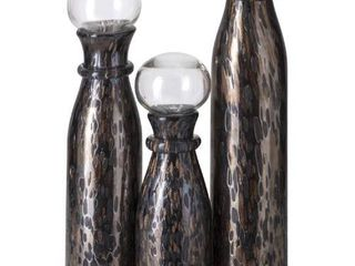 Imax Worldwide Greige Decorative Art Glass Bottles   Set Of 3