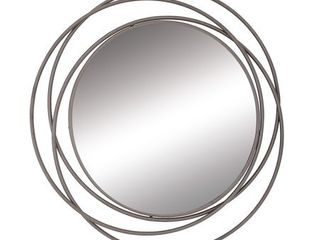 Decmode Modern 41 Inch Overlapping Iron Rings Framed Wall Mirror