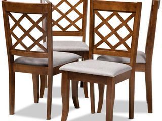 Baxton Studio Brigitte Gray Upholstered Walnut Wood 4 Piece Dining Chair Set