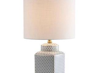 21 5  Cleo Ceramic Metal Ginger Jar lED Table lamp White  Includes Energy Efficient light Bulb    JONATHAN Y