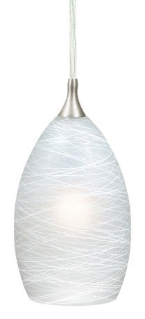 Milano Satin Nickel Mini Pendant Ceiling light White Glass   4 5 in W x 8 25 in H x 4 5 in D  Retail 110 00